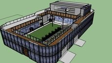 3D Model of shipping container home with courtyard,