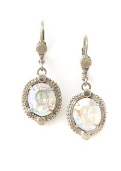 Oval crystal drop w/textures silver trim