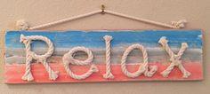 Relax I Rope Sign: Beach Decor, Coastal Decor, Nautical Decor, Tropical Decor, Luxury Beach Cottage Decor, Beach House Decor Shop