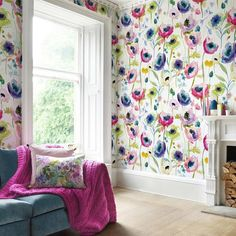 Featuring jewel-toned Anemone flowers and delicate chalky Delphiniums pick this Bluebellgray North Garden Wallpaper for a colourful, chic and stylish look in your home. A stunning wild Scottish garden is depicted in inky watercolours, mixed with pencil and chalk to create this beautiful signature floral. The pretty colour palette really pops on the matt coated non-woven paper this wallpaper is sold as a set of two rolls, which have been created to sit together to provide a larger scale design. North Garden, Green Lounge, Bluebellgray, Watercolor Mixing, Anemone Flower, Watercolor Wallpaper, Scale Design, Design Repeats, Wallpaper Samples