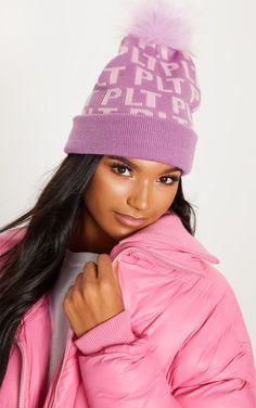 04102154ab2 Pink Monogram Faux Fur Bobble Hat
