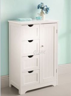 Pic On a White Wood Standing Door Draw Bathroom Cabinet Storage