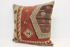 Natural Kilim Pillow Cover  24 x 24 Floor pillow by kilimwarehouse