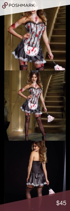 Costume Zombie Vampire Bloody size- X Large Costume Zombie Vampire Bloody size- X LargeThis is a Size - X Large Product Description Size: X Large (see size chart photo) Brand: Dreamgirl Material: Polyester 6 Piece Set  Includes - Corset Dress with Apron and Petticoat - Maid Hat - Pair of Cob Web Lace Stockings - Feather Duster with blood stains - Removable/Adjustable Shoulder Straps  - Removable/Adjustable Garter Straps Condition: This product is Brand New and in its original packaging. Not…
