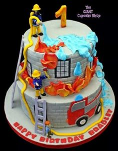 Fireman Sam & Friends - Cake by TheGiantCupcakeShop Feuerwehrmann Sam & Friends - Kuchen v Truck Birthday Cakes, Birthday Cakes For Men, 3rd Birthday, Women Birthday, Birthday Ideas, Fireman Sam Cake, Fireman Sam Birthday Cake, Fireman Party, Fire Engine Cake