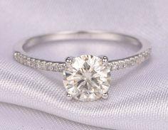 1.25ct Forever Brilliant Moissanite Engagement ring,7mm Round Cut Moissanite Ring,14k White gold,diamond Wedding Band,Solitaire Ring