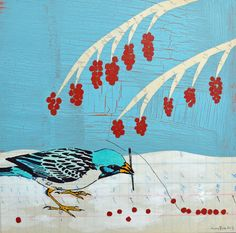original art of a small blue bird beading red by amyriceart, $200.00