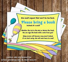 "Oh, The Places You'll Go - Dr Suess - ""Bring a Book"" Baby Shower Invitation Insert"