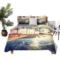 King Size Sheets Tropical Beach Queen Bed Sheets W79 xL90 Queen Bed Sheets, King Size Bed Sheets, Queen Beds, Comforters, Tropical, Blanket, Beach, Furniture, Home Decor