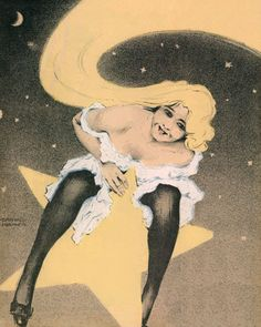 Le Frou Frou 'Girl on Moon' cover by Ernst Ludwig Kirchner, date unknown. Depicts a beautiful blonde sitting on the moon in a white dress as her hair streams out behind her