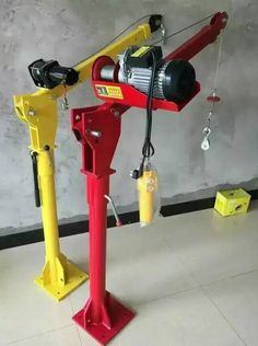 Power winch operated models for davit cranes include 115 volt, single phase AC electric winch with pendant control and brake. Other voltages and phases, 12 volt DC, pneumatic, and hydraulic options are also available. Looking For More Visit The Below Site Diy Projects Garage, Metal Projects, Welding Projects, Metal Working Tools, Work Tools, Homemade Tools, Diy Tools, Fabrication Metal, Electric Winch