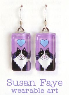 SALE Cat Jewelry/ Tuxedo Cat Glass by SusanFayePetProjects on Etsy, $10.00  #cat #jewelry #sale
