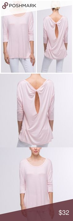 Dusty Rose relaxed jersey back twist top This lightweight relaxed fit jersey top features a back twisted detail and exposes some skin for a trendy and chic look! It is the color dusty rose and made of a very light,high quality fabric made of 95% rayon and 5% spandex with some stretch. Mid length sleeves keep you cool in the warm months and make this perfect for layering! Tops Tees - Long Sleeve