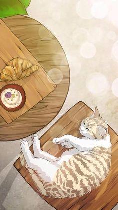 Wallpaper Gatos, Cat Wallpaper, Scenery Wallpaper, Kawaii Wallpaper, Gato Anime, Anime Cat, Walpapers Cute, Art Folder, Illustration Art