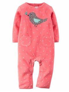 Carter's Infant Girl Pink Polka Dot Bird Print Fleece Jumpsuit Coverall Outfit 9m