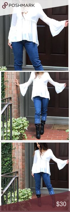 White boho chic bell sleeves tunic White Bohemian chic  bell sleeves gorgeous top measurements bust laying flat on one side S 19 M 20 L 21 length S 26 M 27 L 28 Tops Tunics