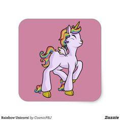 Rainbow Unicorn! Square Sticker