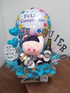 Food Bouquet, Candy Bouquet, Bff Birthday Gift, Birthday Box, Balloon Arrangements, Balloon Decorations, Barbie, Gift Store, Valentine Gifts