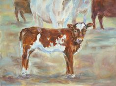 Sale, Cow, Guernsey Calf Hereford Calf, Calf Painting Cow by Carol DeMumbrum