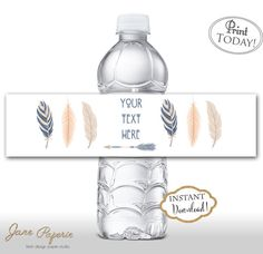 Every little detail has a great impact. Use this water bottle printables and set them up on the drink station table. Our templates are easy to edit in Acrobat Reader. INSTANT DOWNLOAD Boho feathers Printable Water Bottle Labels. Find more coordinating printables at JanePaperie: https://www.etsy.com/shop/JanePaperie