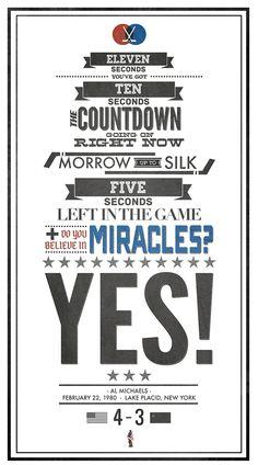 1980 Miracle on Ice countdown typography.