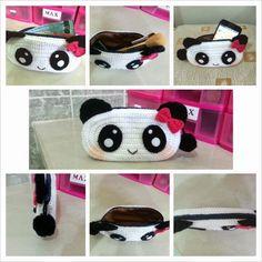 Crochet Panda purse / Panda wallet pattern (FREE) Materials: * Red heart yarn or 8 ply yarn– Black, White & Red * Crochet H...