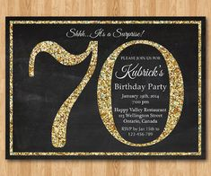 70th birthday invitation. Gold Glitter Birthday Party invite. Adult Surprise Birthday. Elegant. Printable digital DIY.