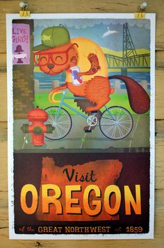 11x17 Oregon Tourism Print by dpsullivan on Etsy  My friend Jennifer aka www.etsy.com/shop/soulsfiredesign lives in Oregon.