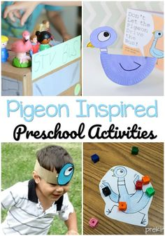 A collection of pigeon activities to use with the Pigeon series of books by Mo Willems; for preschool, pre-k, and kindergarten Preschool Literacy, Preschool Lesson Plans, Preschool Books, Preschool Themes, Kindergarten Activities, Preschool Activities, Literacy Bags, Pigeon Books, Pre K Pages