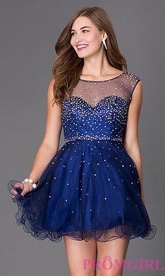 Short Sleeveless Rhinestone Embellished Dress at PromGirl.com