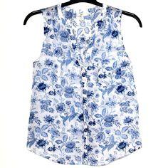 Joie Blouse S Jocelyn Top Cotton Silk Floral Sleeveless 1321-T1848 Button Front #JOIE #Blouse #Versatile