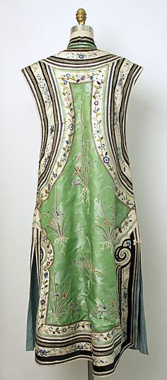 Coat Date: 1800–1943 Culture: Chinese Medium: silk Dimensions: Length: 50 in. (127 cm) Credit Line: Gift of Mrs. John Jay Whitehead, 1943 Accession Number: C.I.43.13.2