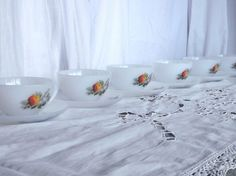 Arcopal demitasse espresso coffee cups and saucers by Frenchidyll, $18.00