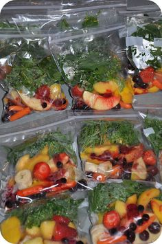 Basically, you make pre-made frozen smoothies bags.  Then in the morning, you pull one out, add some orange juice and blend....that's it!  Here's how it works.    Buy all your fruits and veggies.  Cut, slice and dice and then separate into bags