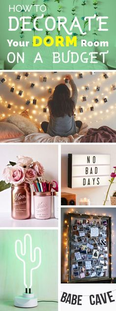 How To Decorate Your Dorm Room On A Budget College Dorm Decorations Budget decorate Dorm Room Life Hacks, Room Decor For Teen Girls, Apartment Decorating On A Budget, Apartment Ideas, Apartment Living, Attic Apartment, Living Rooms, Diy Home, Home Decor