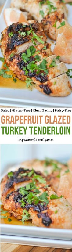 This Grapefruit Glazed Turkey Tenderloin is juicy, flavorful, simple and delicious. It is a tasty and healthy weeknight dinner option the entire family will love. {Gluten-Free, Clean Eating, Dairy-Free} Source by paleohacks Best Gluten Free Recipes, Paleo Recipes, Real Food Recipes, Paleo Meals, Delicious Recipes, Paleo Dinner, Dinner Recipes, Turkey Tenderloin Recipes, Healthy Weeknight Dinners
