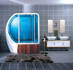 I don't get the shape of that shower but it sure looks cool!