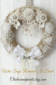 A beautiful handmade wreath shabby chic decor, shabby chic wreath, . - A beautiful handmade wreath of shabby chic decor, shabby chic wreath, … – Shabby Chic Home Deco - Arte Shabby Chic, Couronne Shabby Chic, Shabby Chic Kranz, Shabby Chic Zimmer, Shabby Chic Mode, Shabby Chic Wreath, Shabby Chic Crafts, Shabby Chic Bedrooms, Vintage Shabby Chic