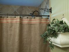 burlap shower curtain red stripe trim by