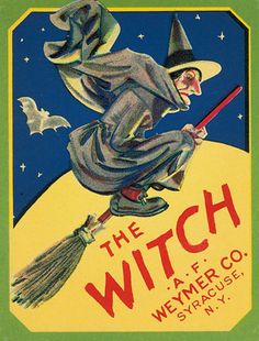 THE WITCH BROOM FLYING MOON BAT HALLOWEEN SYRACUSE NY VINTAGE POSTER REPRO LARGE #Vintage   kitchen
