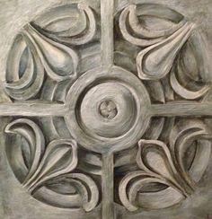 Encaustic painting of architectural terracotta tile 24x24 www.kariserrao.com