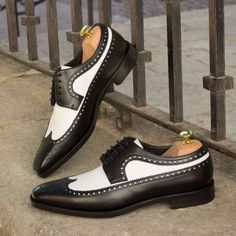 Men,s Handmade Oxford Leather shoes, Men White Black Dress Office Wing Tip Shoes - Dress/Formal
