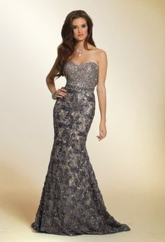 Long Dresses - Fully Beaded Strapless Dress with Soutache Bottom from Camille La Vie and Group USA