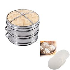 8 / 20cm Two-Tier Bamboo Steamer With Stainless Steel Banding + 50Pcs Food Cooking Paper