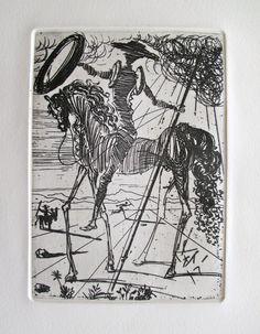 Salvador Dalí - Don Quixote Drawing him next