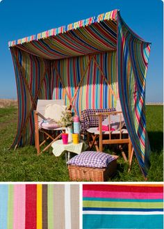 This sun shelter from TheGlamCampingCompany.com is perfect for those who sunburn easily. But oddly, the chairs seem to be in full sun.... Anyway, it's the perfect backdrop for a photo shoot!