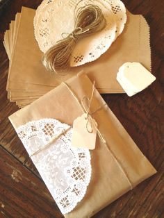 Gift Wrap Kit- DIY Kraft Paper Bags, French Doilies, Twine, Tags Set - 25 of each- Natural Eco Friendly Pack