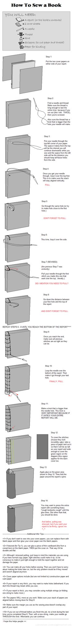 How to Sew a Book + Report by Jounin-SZ.deviantart.com on @deviantART