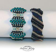 Toho, handmade, Lunamis, bracelet, peyote, wave, beading