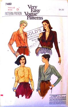 very easy vogue pattern 7460  misses blouse by thewildstrawberries, $12.50